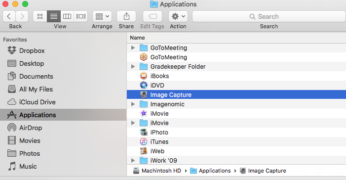 Image Capture comes with your Mac and is in the Applications folder.