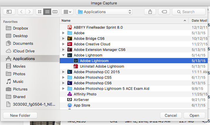 Figure 5: Select the Lightroom application and click the Open button to choose it.