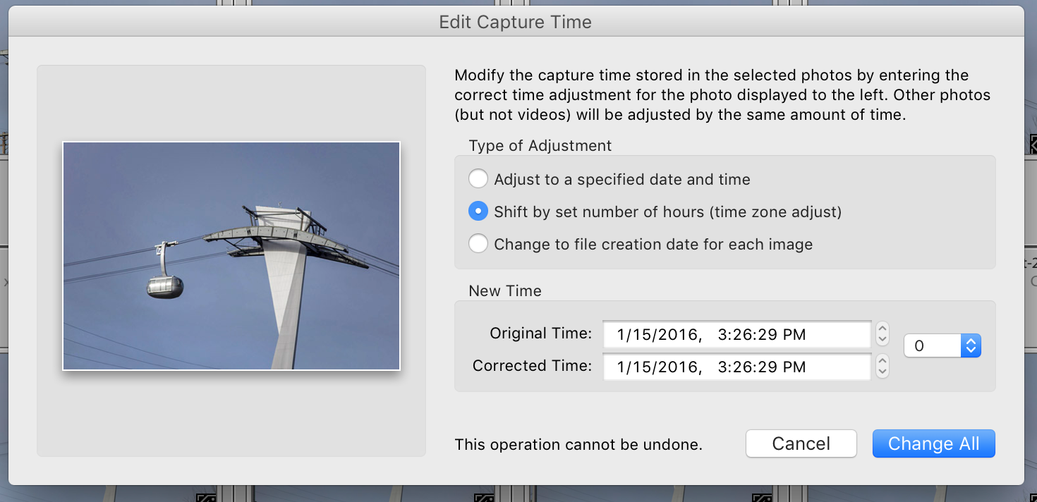 Adjusting for Daylight Savings After the Fact in Lightroom